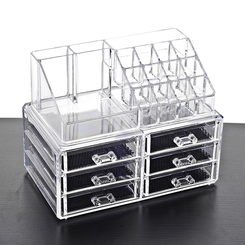 New Clear Acrylic Makeup Storage Case Nail Polish Rack Lipstick Cosmetic Storage Box Holder Makeup Brush Makeup Organizer