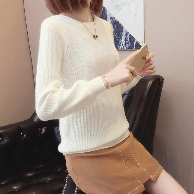 OYCBTDFW סוודרים נשים 2018 חורף סתיו O-צוואר שרוול ארוך בסוודרים סוודר סרוג חולצות חמות נקבה Camisola XY241
