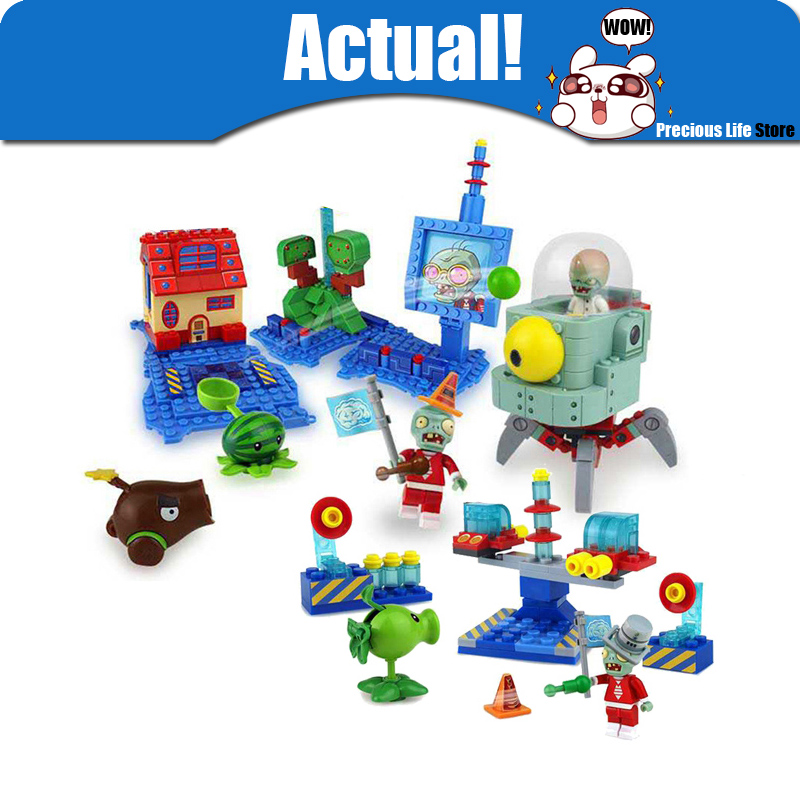 Plants vs Zombies Peashooter Plastic mini Anime Action Figures Model Building Blocks Bricks DIY Toys For Children Brinquedos цена