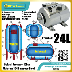 24L stainless steel pressure tank is against corrosive or exposed environment or poor quality water to protect water chillers