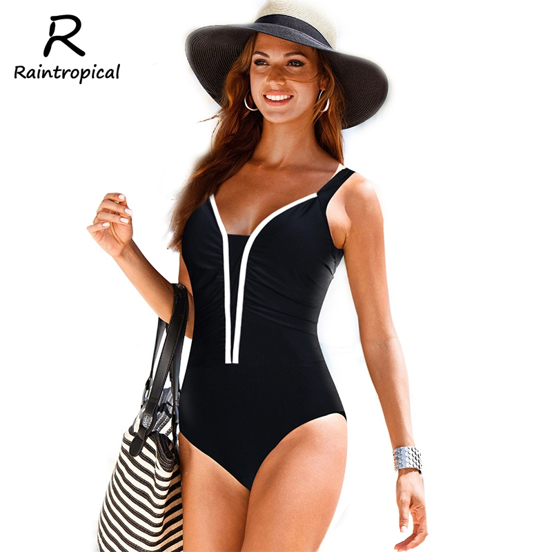 2017 New One Piece Swimsuit Women Vintage Maillot De Bain Beach High Waist Bathing Suits Black Plus Size Swimwear Swim Suit 4XL new one piece swimsuit women vintage monokini female high waist bathing suits black plus size swimwear swim suit m 4xl