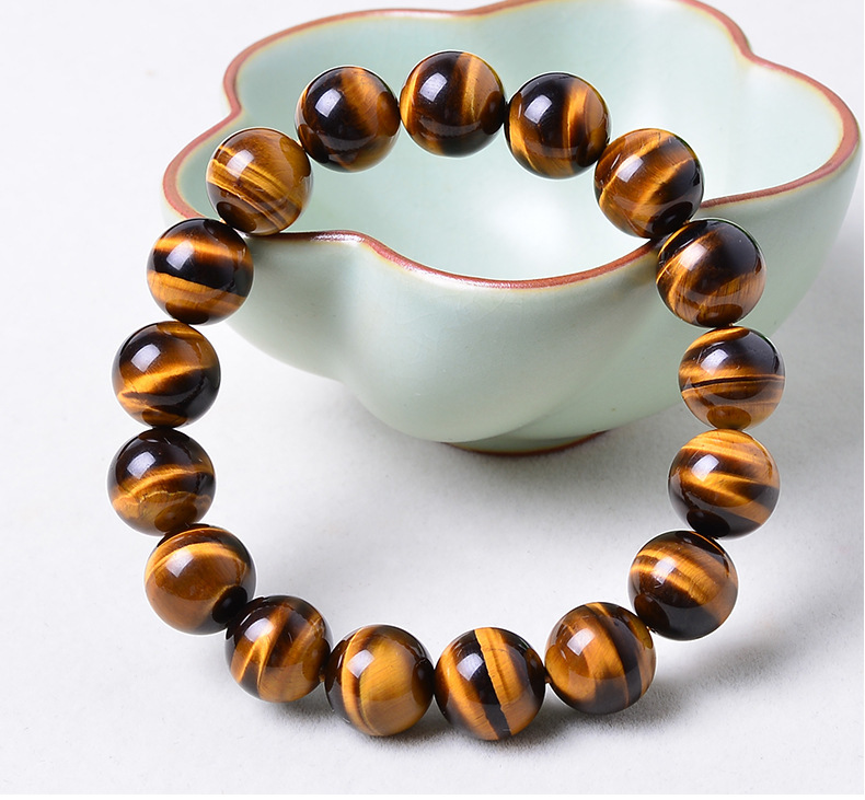 14mm Yellow Tiger Eye Natural Stone Bracelet For Women And Men Jewelry Crystal Silver Charm Bracelets Bangles Elastic Rope Chain new men bracelet 8mm tiger eye stone