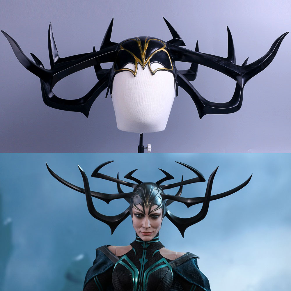 In 2017 Movie Thor 3 Ragnarok Hela Pvc Cosplay Masks Black Horns Queen Helmets Women Halloween Props Party Novel Design;