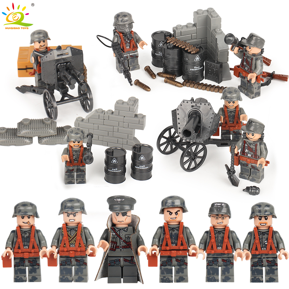 6pcs German Military SWAT Police Weapon Compatible Legoed city Army Soldiers figures WW2 Building Blocks bricks Toy for children цена