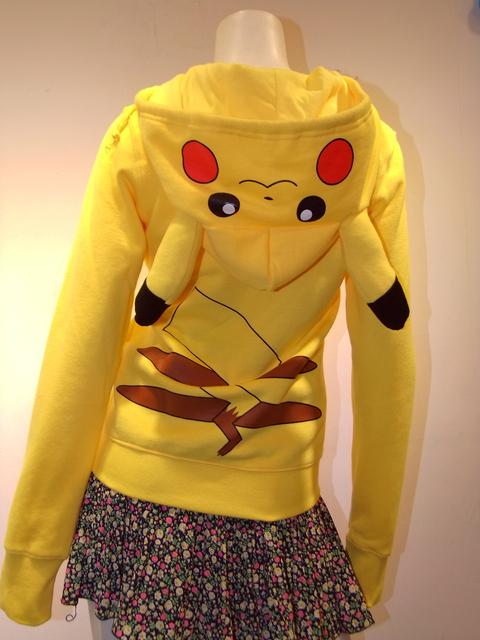 Entrega rápida Japão Anime Legal Pokemon Pikachu Hoodie Hoody Cosplay Roupas Amarelas para as mulheres e crianças