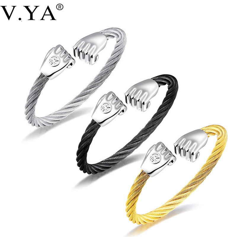 V.YA Steel Wire Fist Bracelets For Men Fashion Jewelry Stainless Steel Individuality Open Size Bracelet & Bangle Charms Dropship