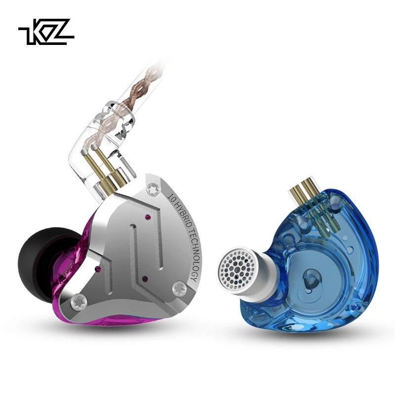 KZ 4BA + 1DD Híbrido 10 Unidades ZS10 Pro Fone De Ouvido De Metal Fones de Ouvido de ALTA FIDELIDADE de Graves No Ouvido Do Monitor Fones De Ouvido Esporte Ruído fones de Ouvido com cancelamento