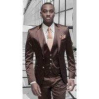 Brown Satin Men Suit Formal Italian Design Tuxedo Custom 3 Piece Blazer Masculino Wedding mens Suits (Jacket+Pants+Vest+Tie)