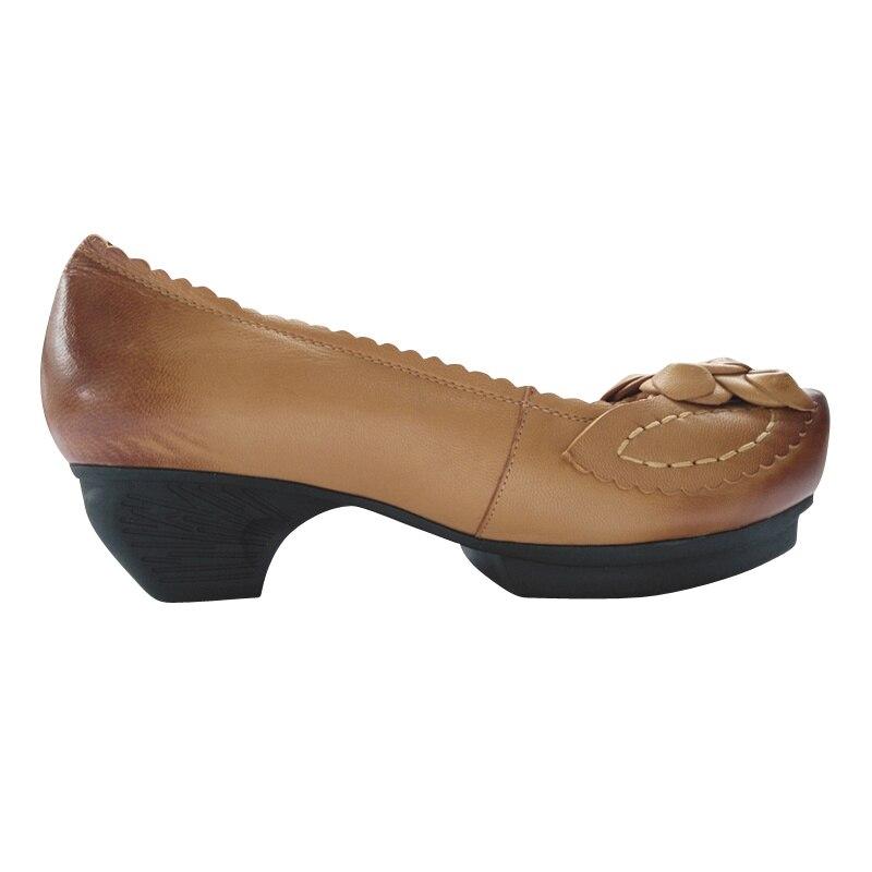 K933k2 Beige Xiangban Zapatos Pie Hecha Del De Retro Las Leaether A Bombas Mujer Mano Puntiagudo Mujeres Dedo H1SaHU