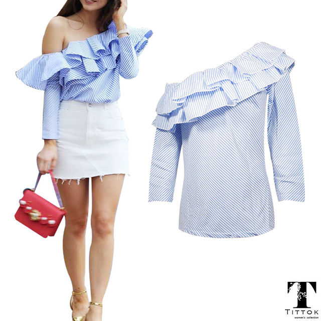 96149daa6d0bf 2018 Autumn New Arrival Fashion Full Sleeves Blue Striped Ruffles Off Shoulder  Women Tops Cold Shoulder Tops Woman s Fashion