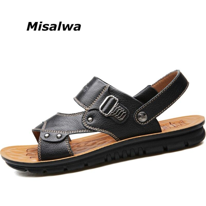 Misalwa 100% Genuine Leather Men Sandals Solid Men Casual Summer Sandals Slipper Men Beach Sandals Daily Shoes men slippers genuine leather crocodile designer new 2018 brown blue beach holiday shoes flat slipper for men casual daily sandal
