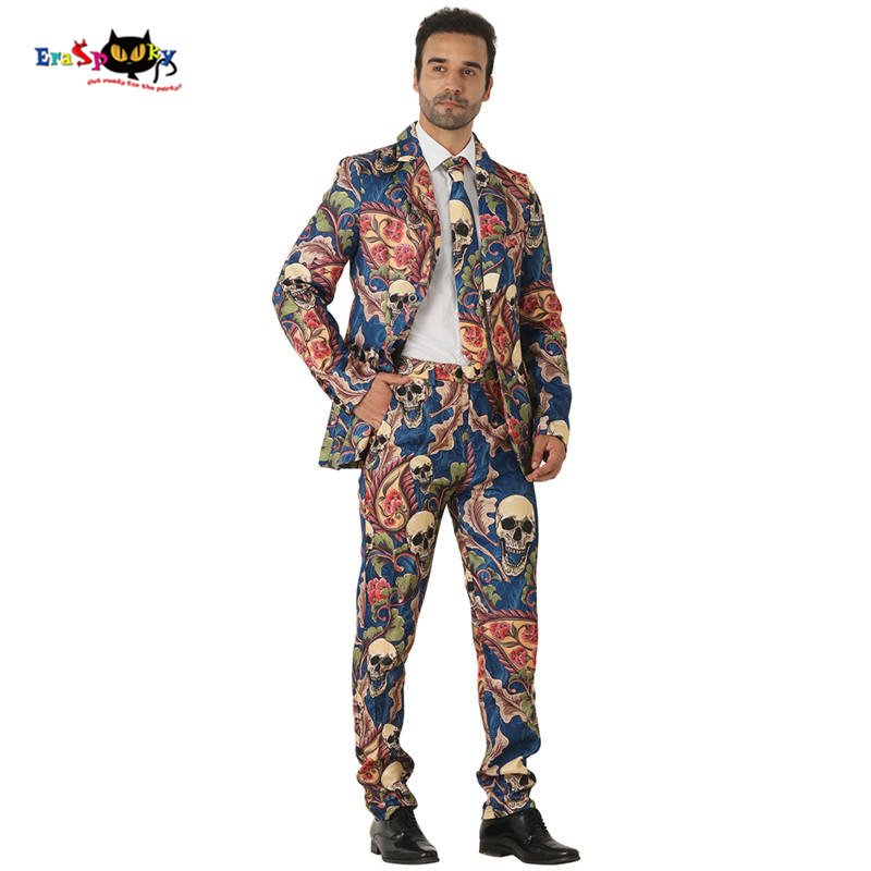 Eraspooky 3D print Scary Skull Cosplay Men Halloween Costume Adults Gothic Floral Skeleton Vintage Suits Male Carnival Blazer