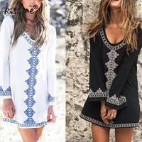 Bohemian White Black Embroider Beach Mini Dress Summer Cotton Beach Cover Up Swimsuit Tunic Swim Coverup Bathing Suit Beach Wear