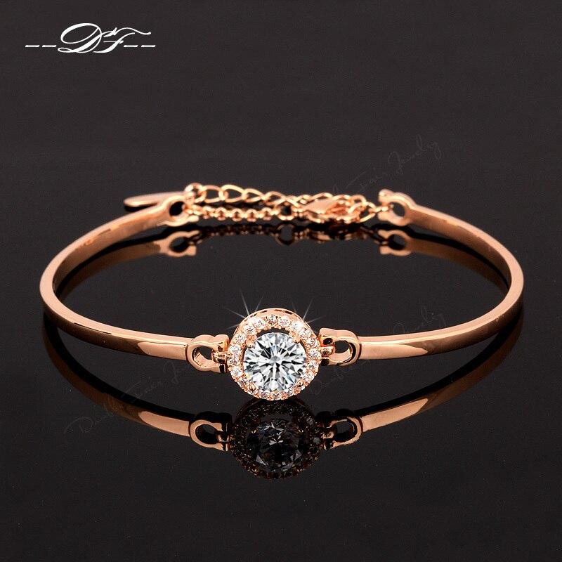 Prix pour Unique Chic AAA + Cubique Zircone De Mode Bracelets & Bangles Or Rose Couleur Cristal Parti Bijoux Pour Femmes pulseras DFH087