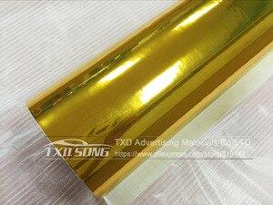 Image 2 - 50 cm * 100/200/300/400/500 cm 높은 stretchable 골드 미러 필름 크롬 미러 비닐 랩 시트 롤 필름 자동차 스티커 데 칼 시트