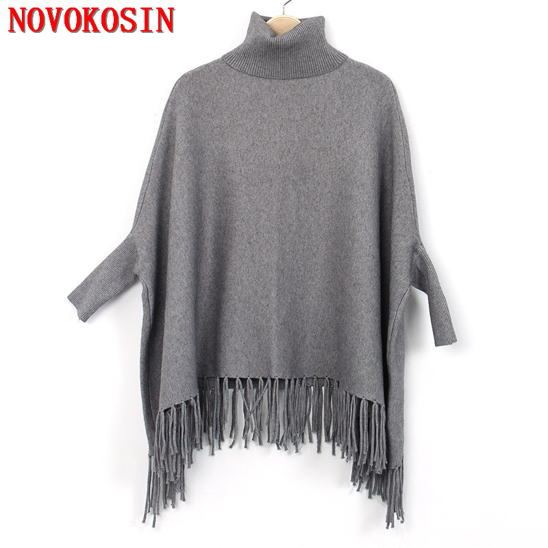 2018 Batwing Sleeves Winter Cloak Warm Faux Cashmere Cape High Neck Long Sweater Autumn Pullover Women Coat Loose Tassel Poncho