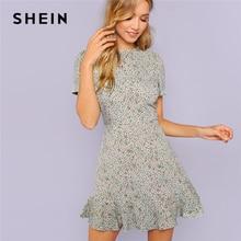 c98648d2be SHEIN Multicolor Allover Floreale Della Stampa Del Bordo Dell'increspatura  Strutturato Vestito Elegante Casual Fit e Flare Abiti.