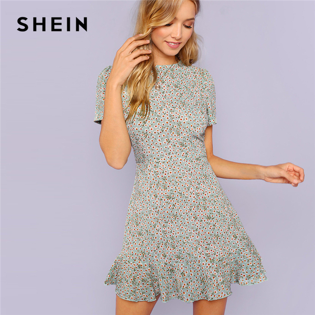 00c62fa7678 SHEIN Multicolor Allover Floral Print Ruffle Hem Textured Dress Elegant  Casual Fit and Flare Dresses Women