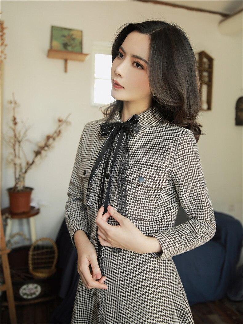 Robes Haute Plein Qualité Femmes Explosions Patchwork Casual Correspondant Robe Automne Plaid Loisirs rrqUxn