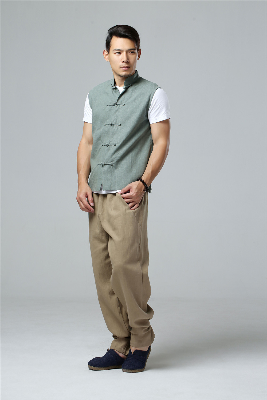 LZJN 2019 Men's Summer Waistcoat Chinese Style Vintage Breathable Linen Button Down Kung Fu Shirt Sleeveless Vest Jacket  (29)