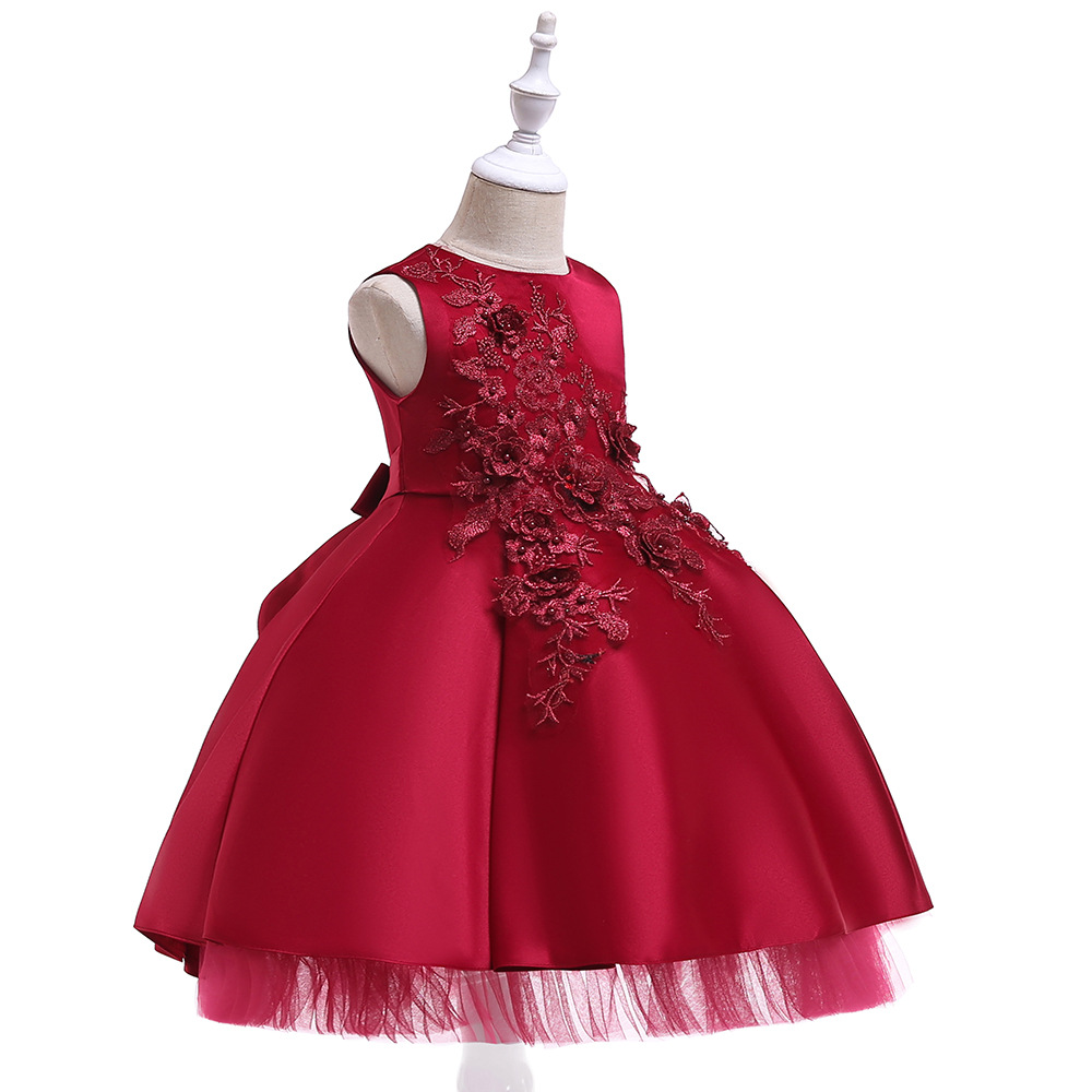 Ball Gown Sleeveless Mini Length   Flower     Girl     Dresses   Pink Blue Kids   Dress   Children   Girls     Dresses   with Bow