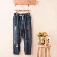 Carattere Decorazione 2017 Nuovo Arrivo Etero Jeans Strappati Divertente Carino Per Le Donne Autunno Signore di Modo Distrutto Denim Pantaloni