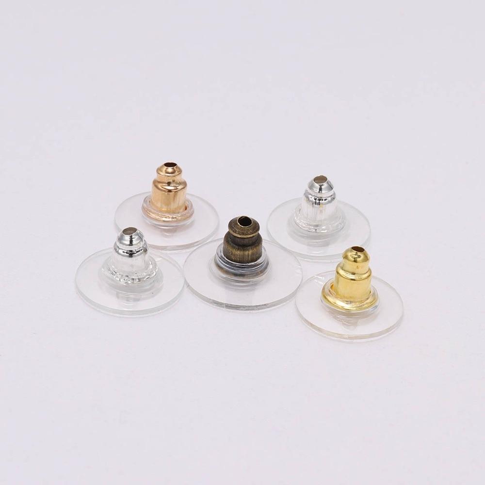 100 шт./лот серьги-гвоздики из кремния с золотыми орехами для затычки ушей для сережек Стопперы аксессуары для изготовления ювелирных изделий