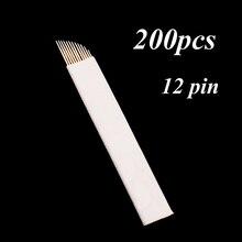 200 Pcs 12 Flex Microblading Naalden Permenent Make Pins 12 Tattoo Naald Lamina Agulhas Tebori Blad voor Handmatige Wenkbrauw Pen