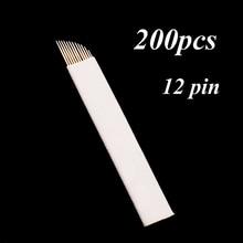 200 Pcs 12 Flex Microblading Needles Permenent Makeup Pins 12 Tattoo Needle Lamina Agulhas Tebori Blade for Manual Eyebrow Pen