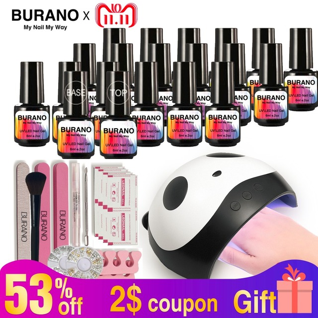 Burano Nail Polish Kit 36w Led Fast Lamp Dryer Set 20 Soak Of