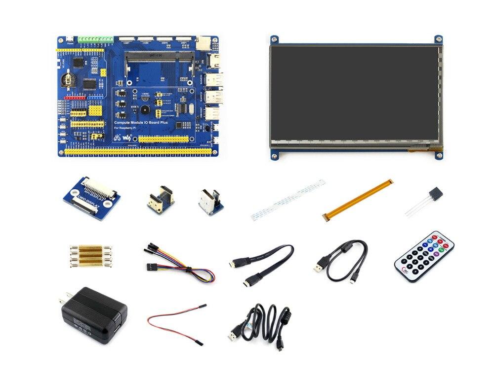 Module de calcul Raspberry Pi 3 Pack d'accessoires Type B (pas de CM3) avec écran LCD HDMI 7 pouces, DS18B20, adaptateur secteur, câble caméra Pi zéro
