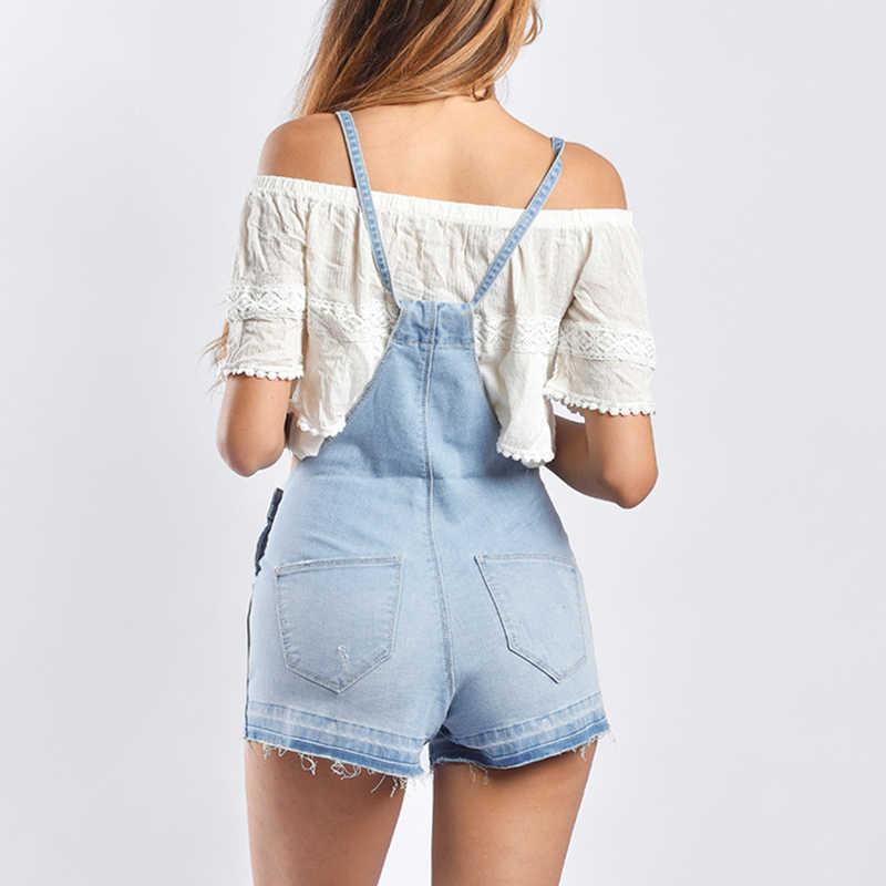 Модные комбинезоны для женщин s комбинезон Светло-голубой отбеленный комбинезон для женщин джинсовые короткие костюмы комбинезон женский en jean monos mujer
