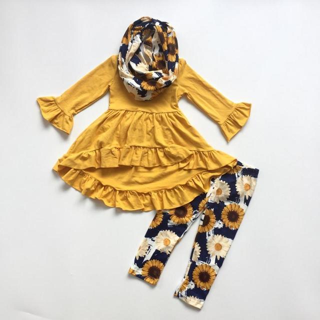 Осенняя одежда для девочек, комплект из 3 предметов с шарфиком, комплекты с принтом подсолнечника для девочек, однотонное желтое платье, топ с подсолнечниками, штаны