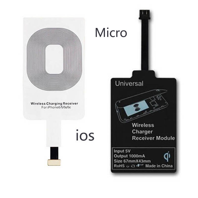 Micro usb Universal QI Wireless Charger Phone Charging Receiver Adapter For micro usb iphone5 5s 6 6s plus 7 PHONE Charger