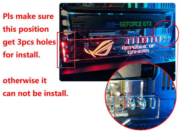 US $14 9 |Custom made Acrylic Bracket use for Brace GPU card with RGB Light  Size 280*45*6mm Fix Video Card Compatible AURA System 12V RGB-in Fans &
