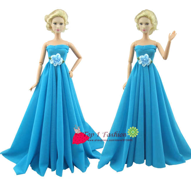 Free Shipping Sky Blue Color Elegance Evening Party Wedding Dress