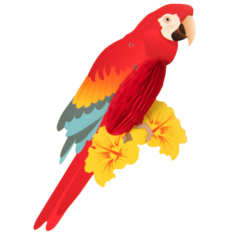 3 Pieces Vivid Parrots Hanging Paper Party Decoration For Hawaiian Kids Party