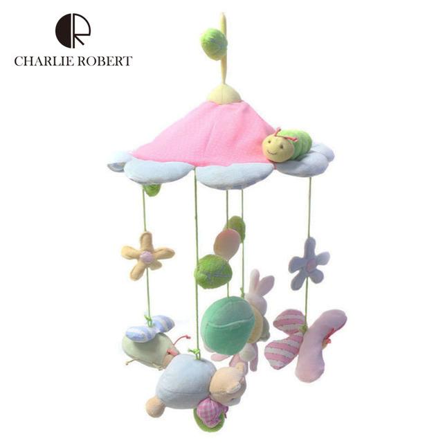Kawaii animales rosa bebé de la flor juguete recién nacido ojos manos la formación música móvil del bebé confunde cochecito cama colgante juguetes para niños