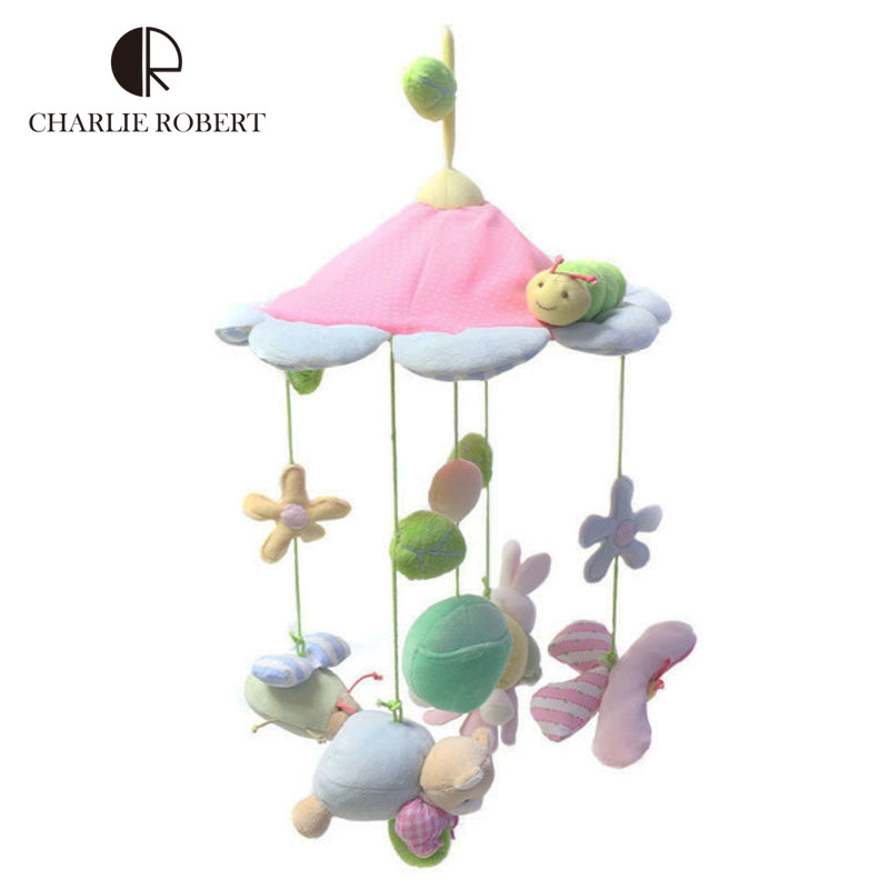 Kawaii animals pink flower baby toy newborn infant eyes hands training mobile baby music rattles stroller bed hanging kid toys