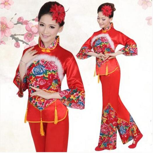 New Year Red Hanfu Women Chinese Traditional Suit National Younger Style Clothing Fan Yangko Stage Dancing Clothes Costumes