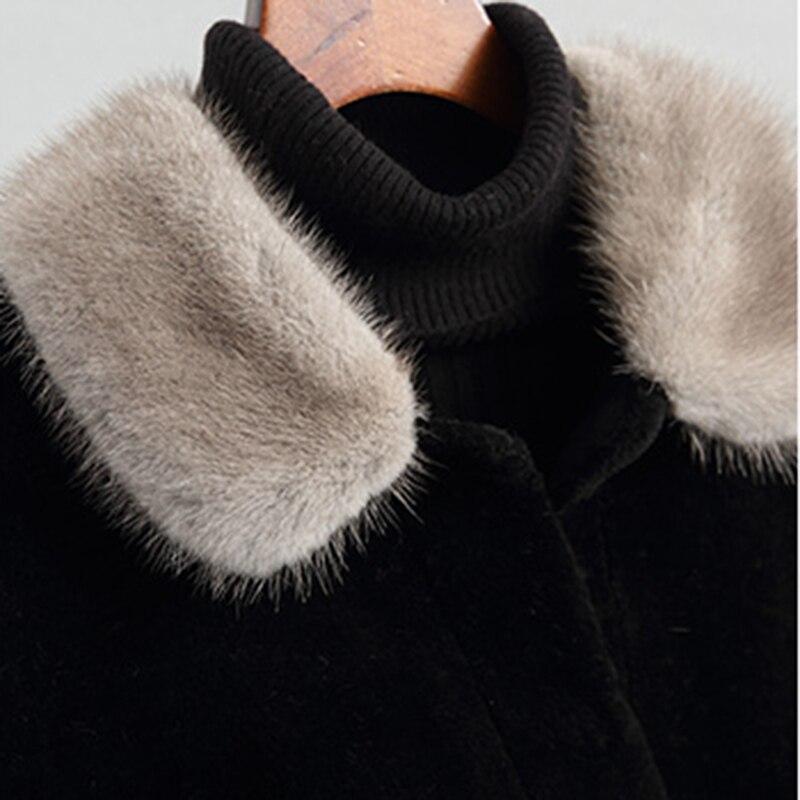 De Ll2031 Noir Dames Naturel Véritable Vestes Manteau Veste Col Manteaux Femme Vison Laine Fourrure Long Mouton Outwear Hiver awrUnaPq1