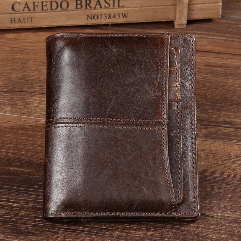2017New Genuine Crazy Horse Cowhide Leather Men Wallet Short Coin Purse Small Vintage Wallet Brand High Quality Free Shipping 2017 genuine cowhide leather brand women wallet short design lady small coin purse mini clutch cartera high quality