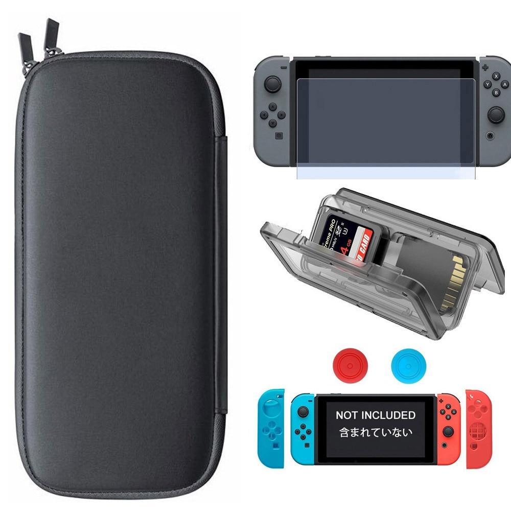 5 i 1 Travel Case og Controller Silikone Etui Thumb Stick Cap og Tempered Glass Screen og Card Case til Nintend Switch