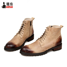 Genuine Leather Mens Lace Up Riding Boots Wing Tips Brogue Carving Martin Warm Plush Winter Snow