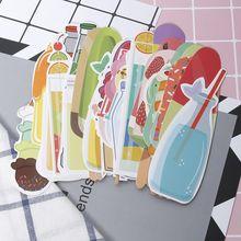 30 unids/caja Vintage refresco helado verano marcapáginas papel papelería escuela película marcapáginas sujetador de libros Clips útiles escolares