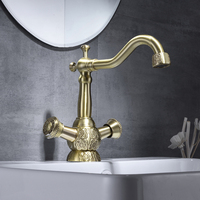 Basin Faucet Antique Brass Finish Bathroom Sink Faucet 360 Degree Swivel Dual Handle Vintage Carving Washbasin Mixer Taps WC Tap