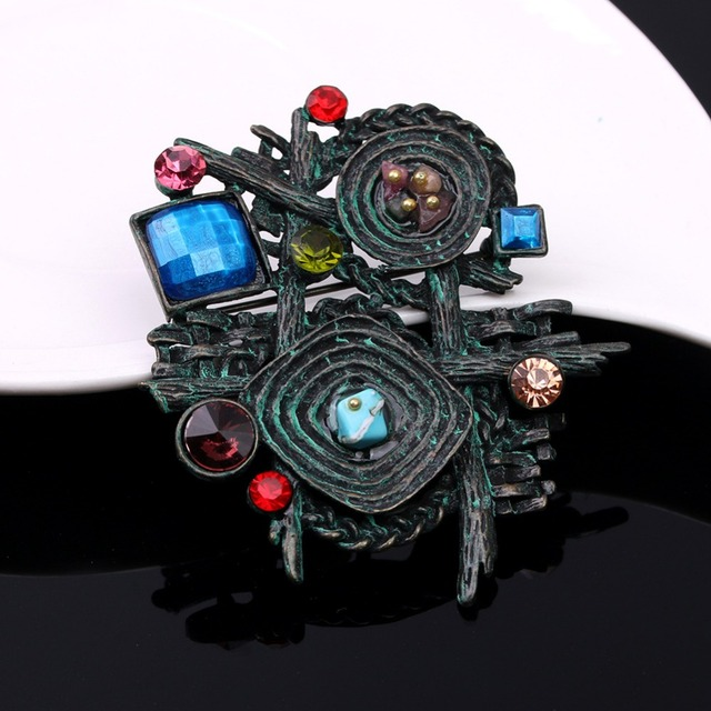 Vintage Rhinestone Multicolor Brooch Pin