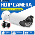 4MP Câmera de 3MP IP POE Ao Ar Livre 4X Zoom Auto Íris Varifocal lente ir 40 m bala p2p network security suporte iphone android vista
