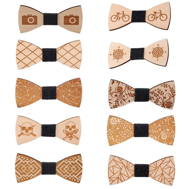 Wood Bow Tie For Men's Suit Groom Wedding Party Men Formal Wear Business Cravat  Tie Clothing Accessories 10 Engraved Patterns
