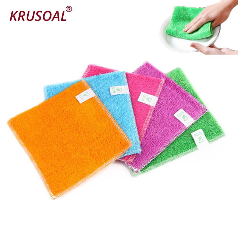 5PCS Dish Cloth Bamboo Fiber High Efficient Anti-grease Cleaning towel Washing Towel Magic Kitchen Cleaning Wiping Rag
